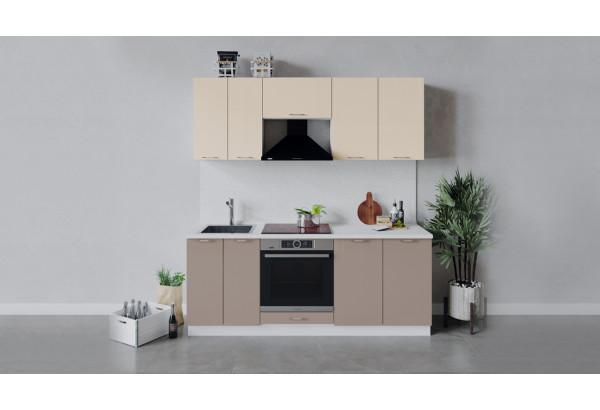 Кухонный гарнитур «Весна» длиной 200 см со шкафом НБ (Белый/Ваниль глянец/Кофе с молоком) - фото 1