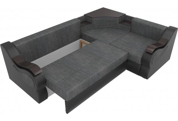 Угловой диван Митчелл Серый/черный (Рогожка/Экокожа) - фото 6