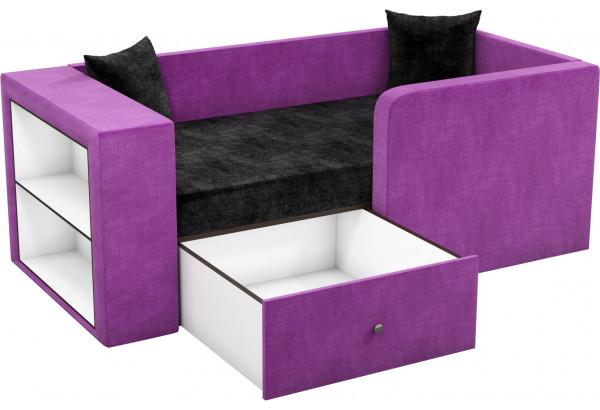 Детский диван Орнелла черный/фиолетовый (Микровельвет) - фото 2