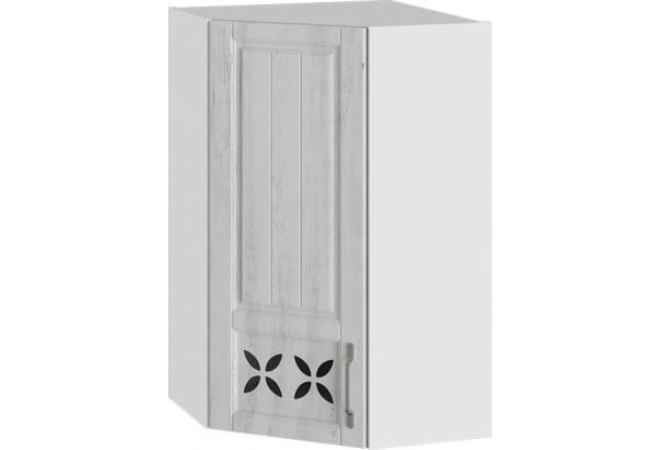 Шкаф навесной угловой c углом 45 с декором (ПРОВАНС (Белый глянец/Санторини светлый)) - фото 1