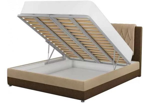 Интерьерная кровать Камилла бежевый/коричневый (Микровельвет) - фото 2