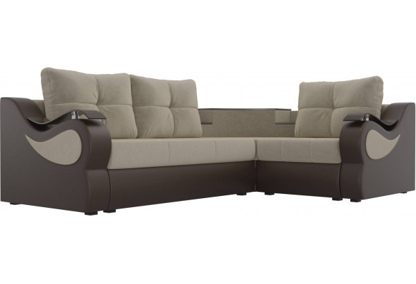 Угловой диван Митчелл бежевый/коричневый (Микровельвет/Экокожа) - фото 3