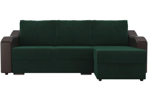 Угловой диван Монако зеленый/коричневый (Велюр/Экокожа) - фото 2