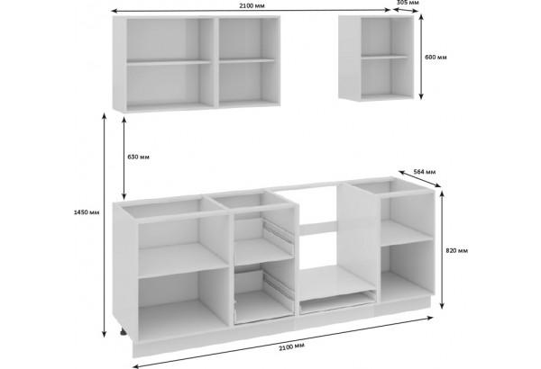 Кухонный гарнитур длиной - 210 см (со шкафом НБ) Фэнтези (Белый универс)/(Лайнс) - фото 3