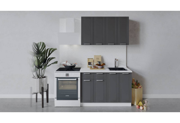 Кухонный гарнитур «Ольга» длиной 120 см (Белый/Графит) - фото 1