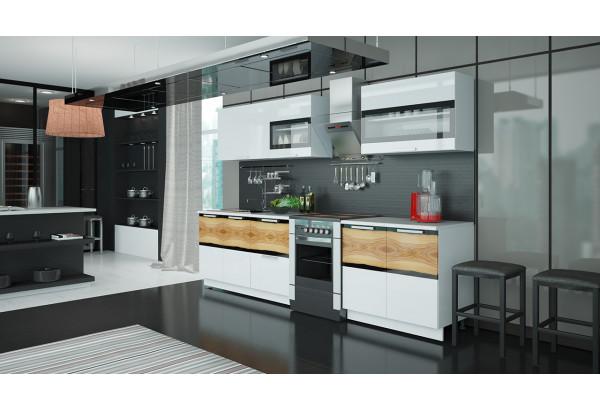 Кухонный гарнитур длиной - 300 см Фэнтези (Белый универс)/(Вуд) - фото 2
