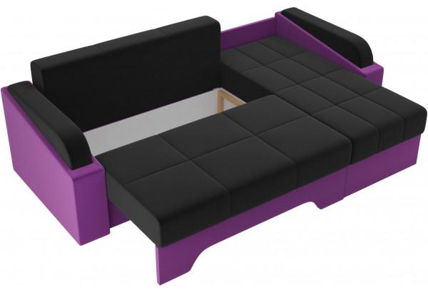 Угловой диван Панда черный/фиолетовый (Микровельвет) - фото 6