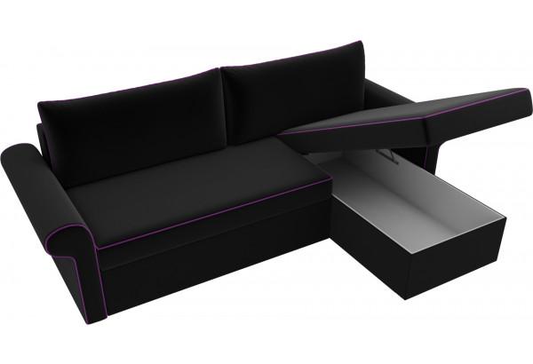 Угловой диван Милфорд Черный (Микровельвет) - фото 5