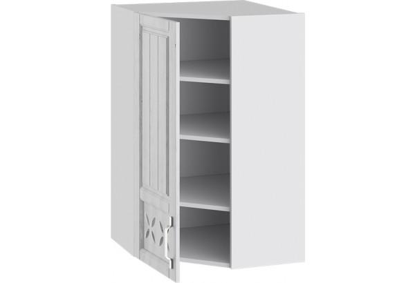 Шкаф навесной угловой c углом 45 с декором (ПРОВАНС (Белый глянец/Санторини светлый)) - фото 2