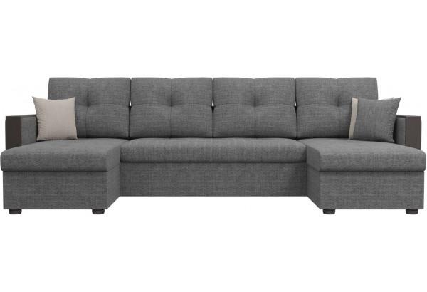 П-образный диван Валенсия Серый (Рогожка) - фото 2