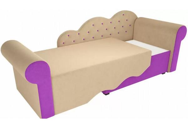 Детская кровать Тедди-2 бежевый/фиолетовый (Микровельвет) - фото 2