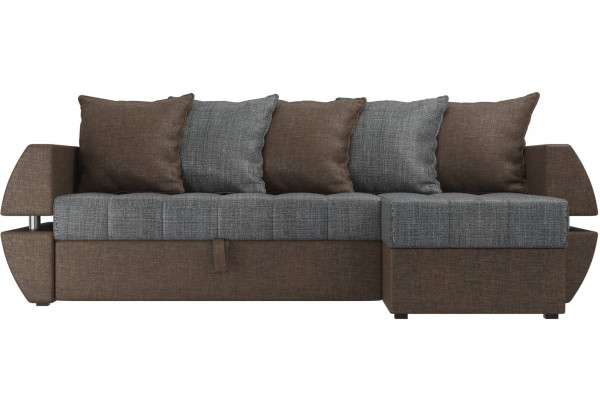 Угловой диван Атлантида У/Т Серый/коричневый (Рогожка) - фото 2
