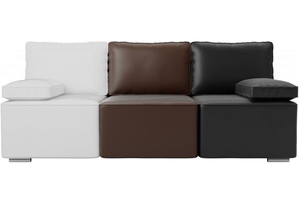 Диван прямой Радуга Белый/коричневый/черный (Экокожа) - фото 3