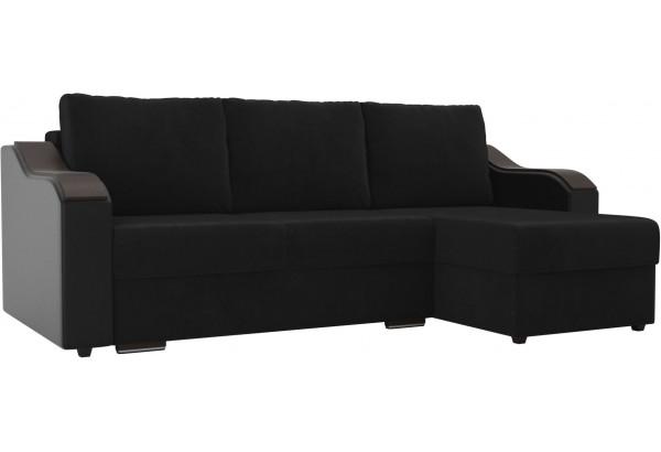 Угловой диван Монако черный/черный (Велюр/Экокожа) - фото 1