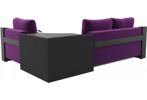 Угловой диван Митчелл Фиолетовый/Черный (Микровельвет/Экокожа) - фото 5