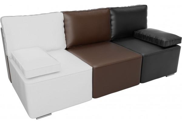 Диван прямой Радуга Белый/коричневый/черный (Экокожа) - фото 2