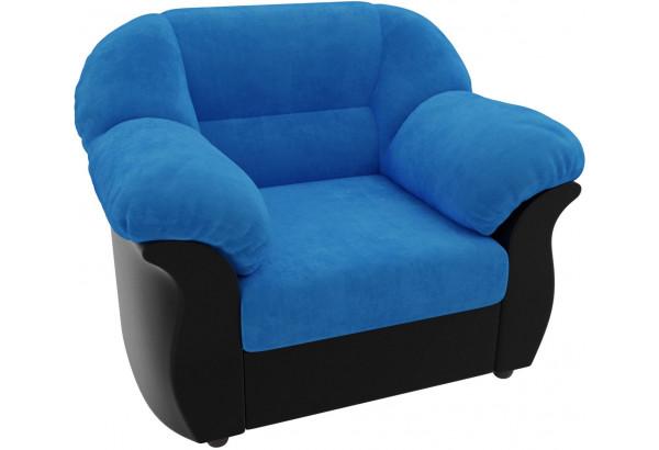 Кресло Карнелла голубой/черный (Велюр/Экокожа) - фото 4