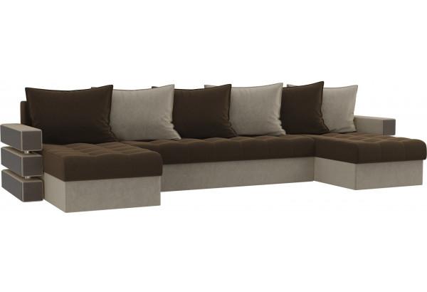 П-образный диван Венеция Коричневый/Бежевый (Микровельвет) - фото 1