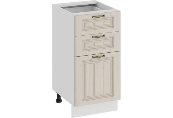 Шкаф напольный с тремя ящиками «Лина» (Белый/Крем) - фото 1
