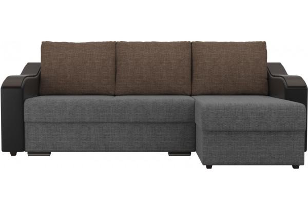 Угловой диван Монако Серый/Черный/Коричневый (Рогожка/Экокожа) - фото 2