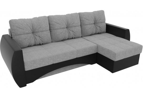 Угловой диван Сатурн Серый/черный (Рогожка/Экокожа) - фото 4