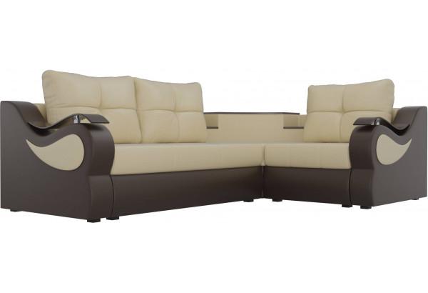 Угловой диван Митчелл бежевый/коричневый (Экокожа) - фото 3