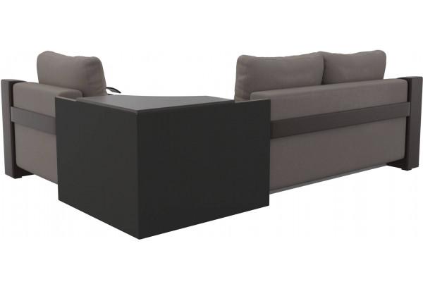 Угловой диван Митчелл бежевый/коричневый (Рогожка/Экокожа) - фото 5