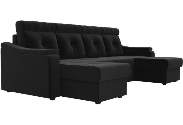 П-образный диван Джастин Черный (Микровельвет) - фото 3