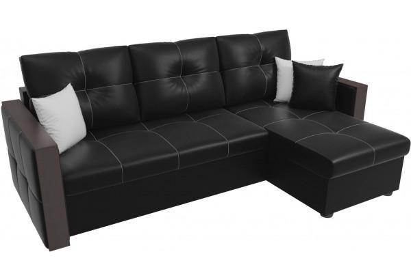 Угловой диван Валенсия Черный (Экокожа) - фото 4