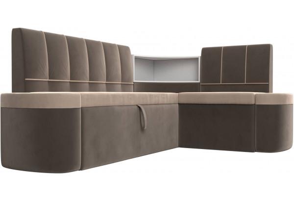 Кухонный угловой диван Тефида бежевый/коричневый (Велюр) - фото 3