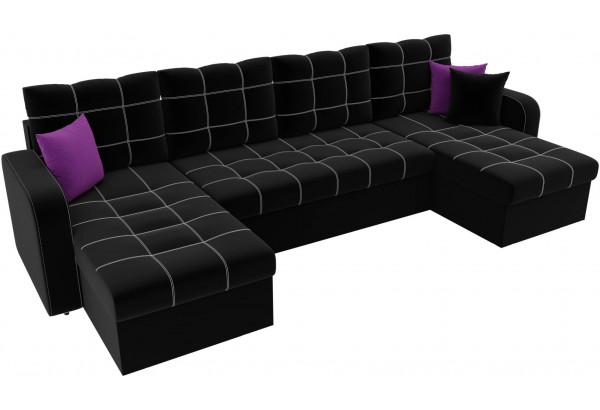П-образный диван Ливерпуль Черный (Микровельвет) - фото 4