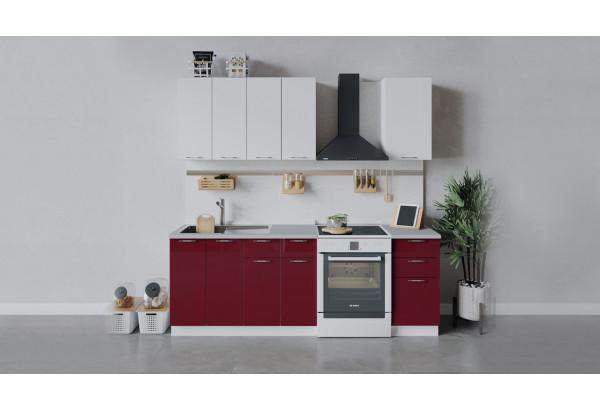 Кухонный гарнитур «Весна» длиной 160 см (Белый/Белый глянец/Бордо глянец) - фото 1