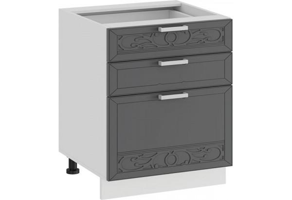 Шкаф напольный с тремя ящиками «Долорес» (Белый/Титан) - фото 1