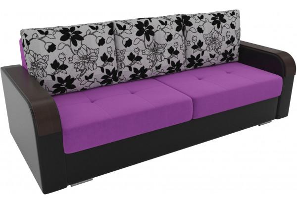 Прямой диван Мейсон Фиолетовый/Черный (Микровельвет/Экокожа/флок на рогожке) - фото 4