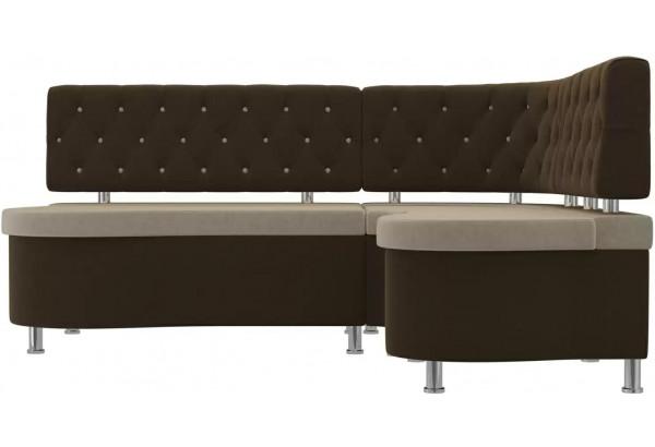 Кухонный угловой диван Вегас бежевый/коричневый (Микровельвет) - фото 2