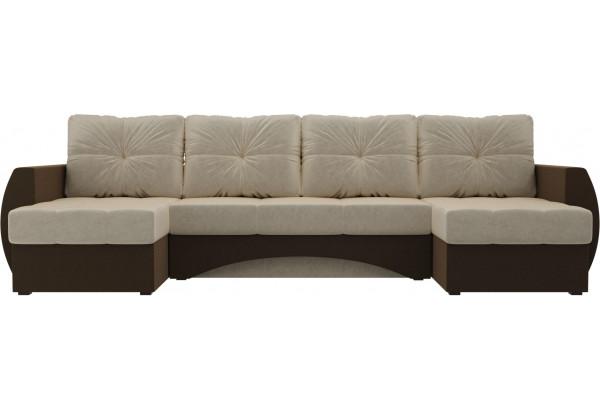 П-образный диван Сатурн бежевый/коричневый (Микровельвет) - фото 2