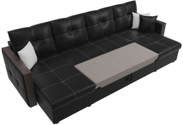 П-образный диван Валенсия Черный (Экокожа) - фото 6