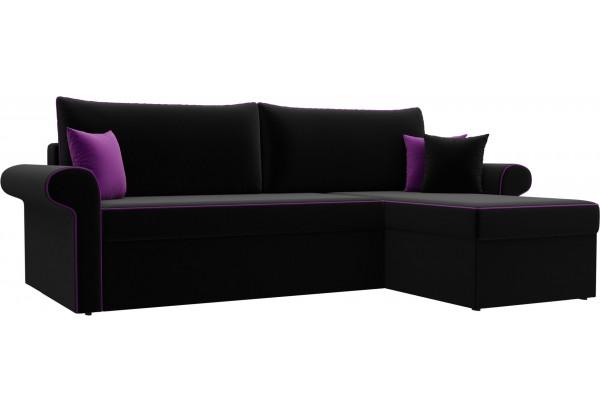 Угловой диван Милфорд Черный (Микровельвет) - фото 1