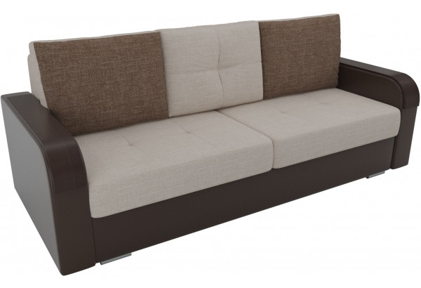 Прямой диван Мейсон бежевый/коричневый (Рогожка/Экокожа) - фото 2