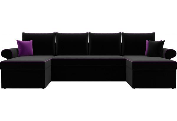 П-образный диван Милфорд Черный (Микровельвет) - фото 2