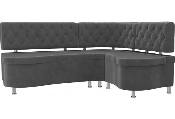 Кухонный угловой диван Вегас Серый (Велюр) - фото 1