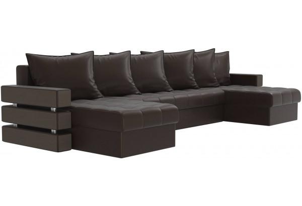П-образный диван Венеция Коричневый (Экокожа) - фото 3