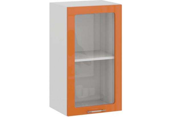 Шкаф навесной c одной дверью со стеклом «Весна» (Белый/Оранж глянец) - фото 1