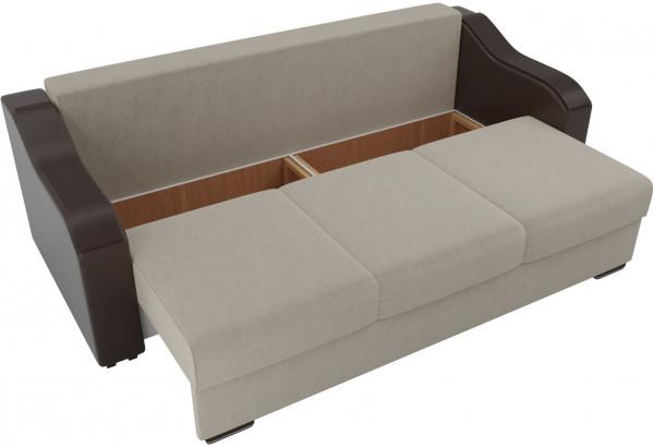 Прямой диван Монако бежевый/коричневый (Микровельвет/Экокожа) - фото 5