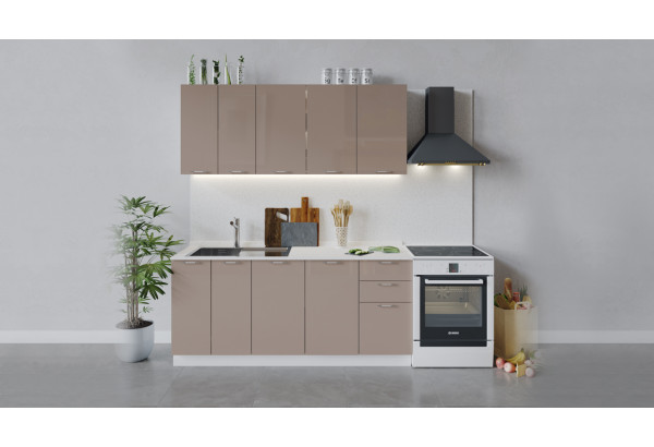 Кухонный гарнитур «Весна» длиной 180 см (Белый/Кофе с молоком) - фото 1