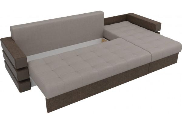 Угловой диван Венеция бежевый/коричневый (Рогожка) - фото 6