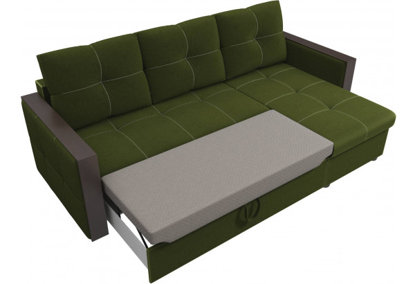 Угловой диван Валенсия Зеленый (Микровельвет) - фото 6