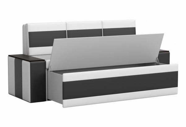 Кухонный прямой диван Лина Белый/Черный (Экокожа) - фото 2