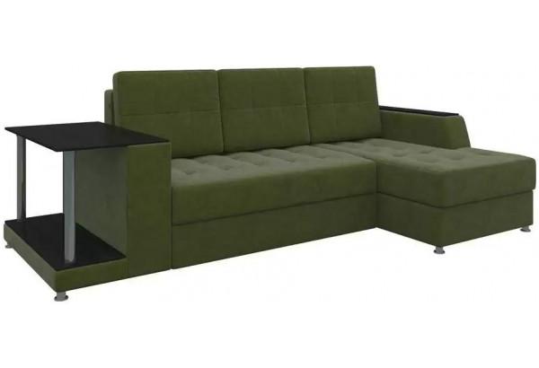 Угловой диван Атланта Зеленый (Микровельвет) - фото 1