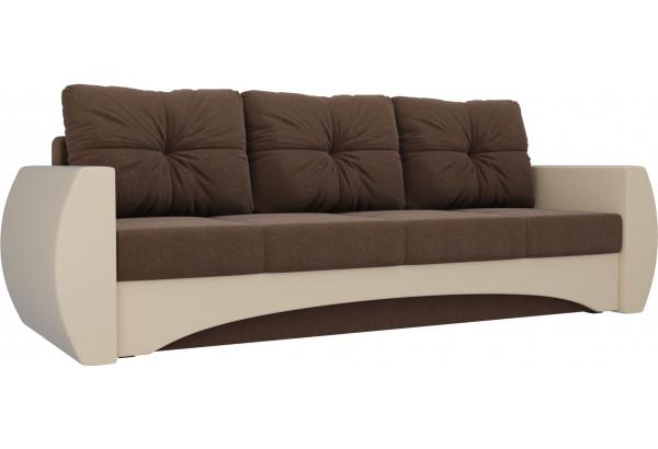 Прямой диван Сатурн Коричневый/Бежевый (Рогожка/Экокожа) - фото 1